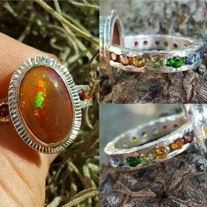Welo Opal & Rainbow Channel Ring